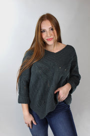 casual love sweater - dark green