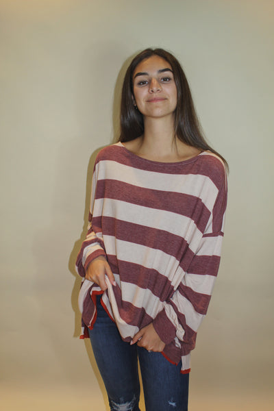 striped out top - burgundy