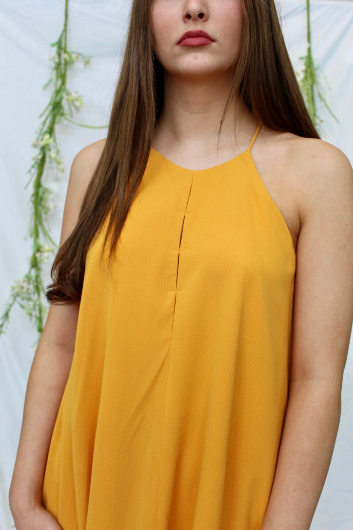 gold sleeveless game day dress