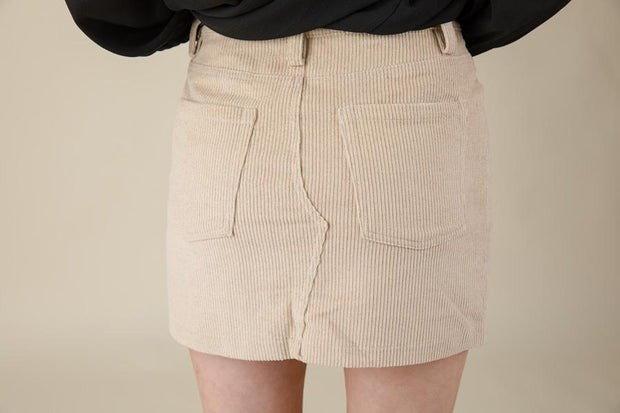 Light Taupe Corduroy Mini Skirt