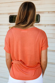 feelin' breezy tee - orange coral