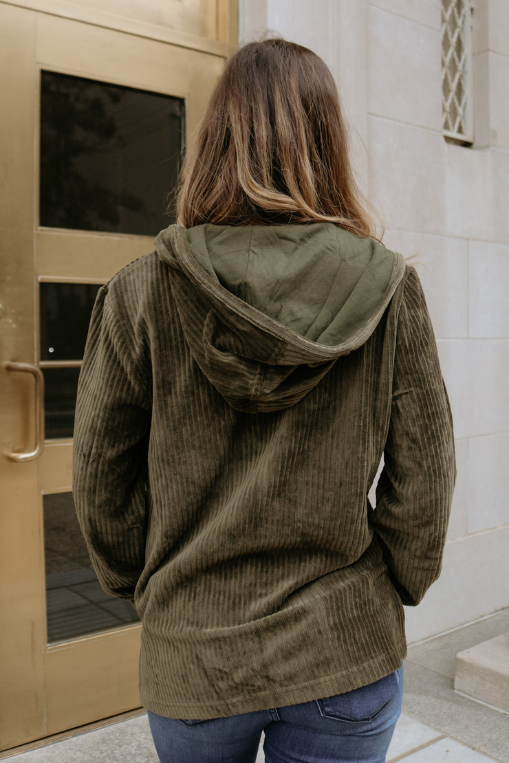 z supply: the wide whale corduroy pullover - forest night