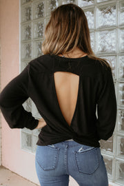 z supply: the marled twist back top - black