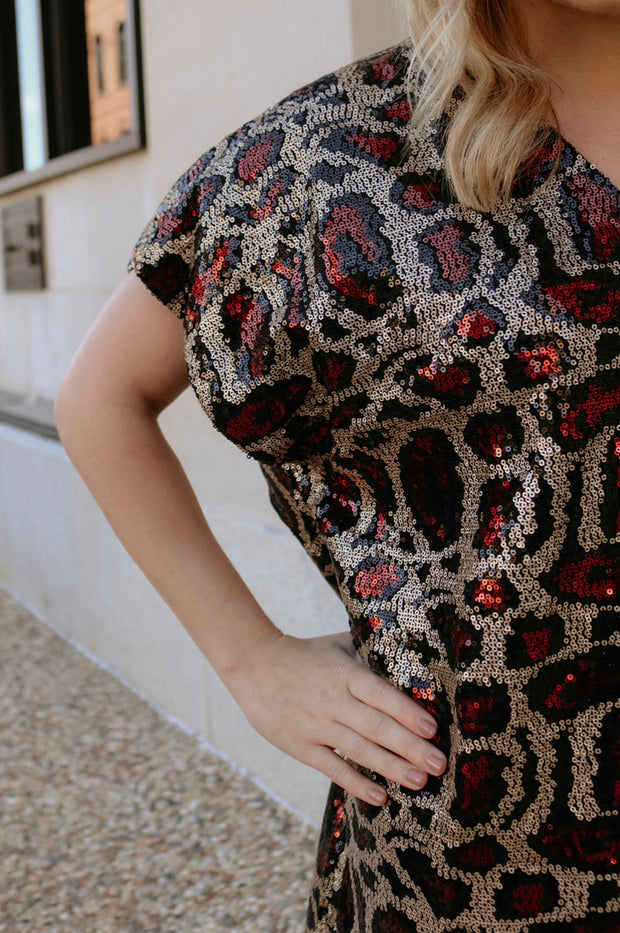 buddy love: the aretha sequined mini dress - red leopard