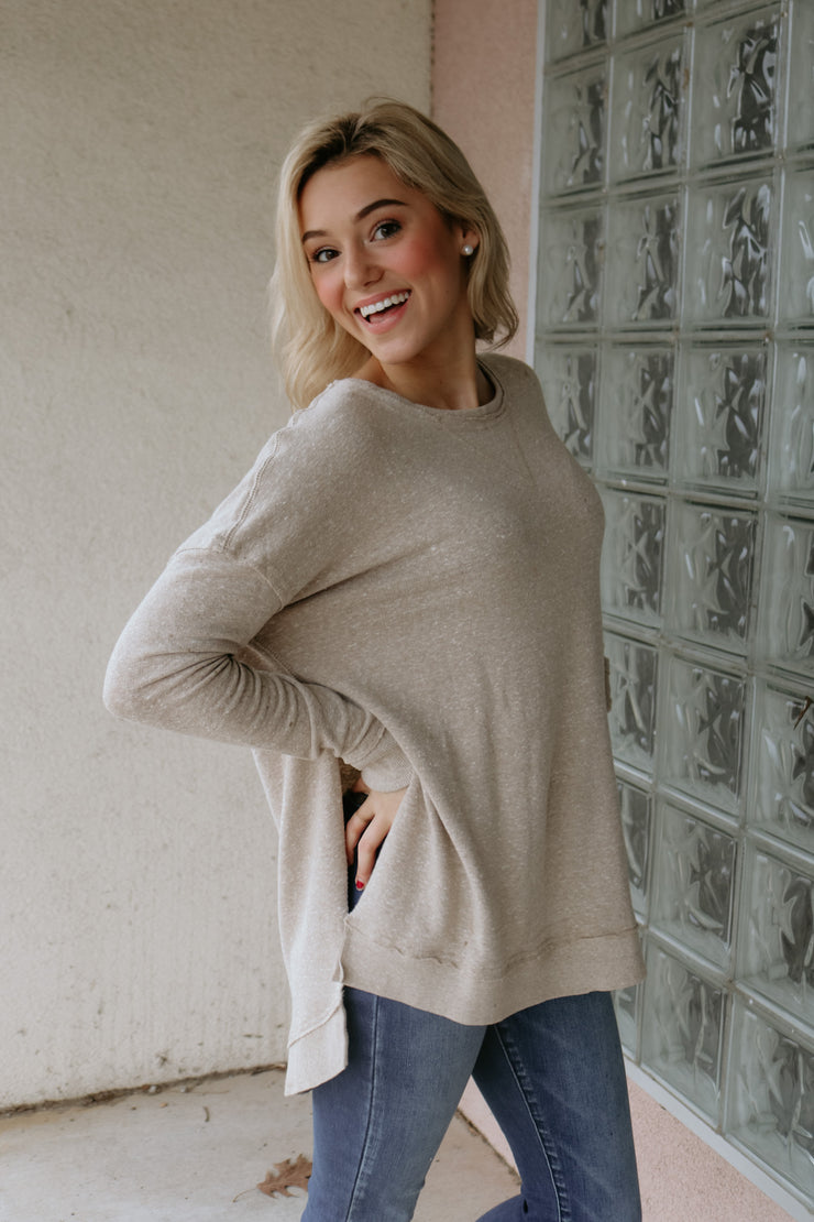 z supply: the triblend pullover - simply taupe