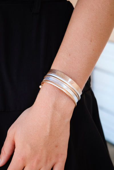 the scarlet layered cuff - gold/silver
