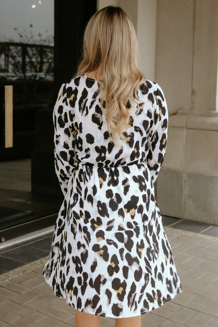 catwalk print dress - white/black