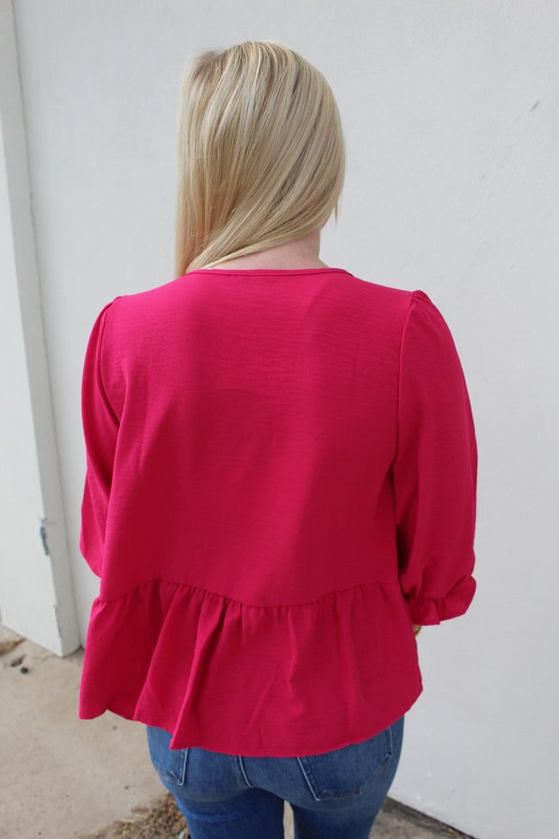 fall in love babydoll top - fuschia