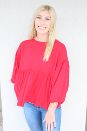 picture perfect top - red