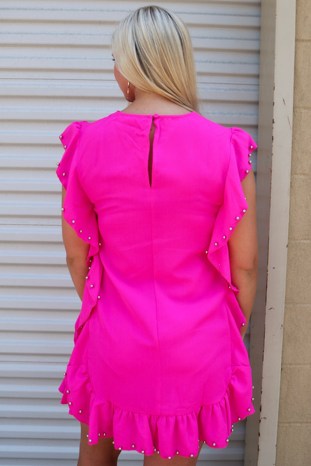 rock the town dress - barbie pink