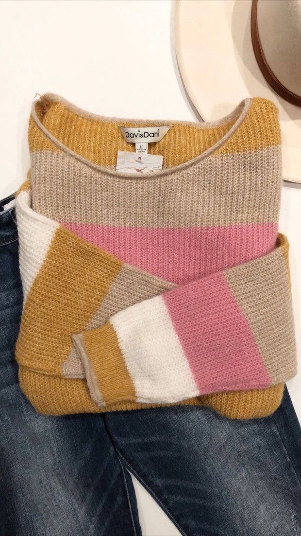 oh the stripes sweater - pink combo