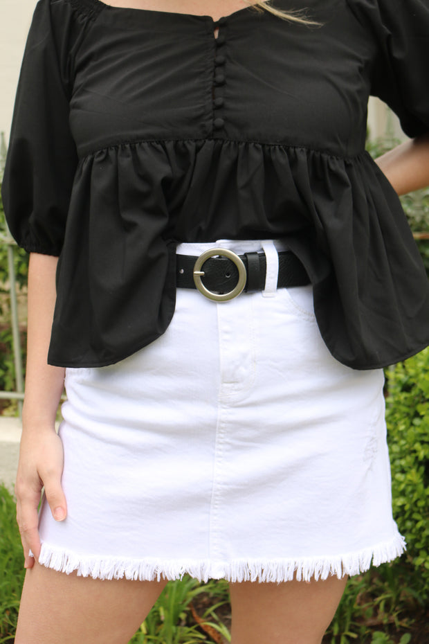 just black: the charley skirt - white