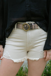 beach please distressed shorts - sand