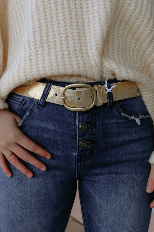 the jenna belt - cow gold