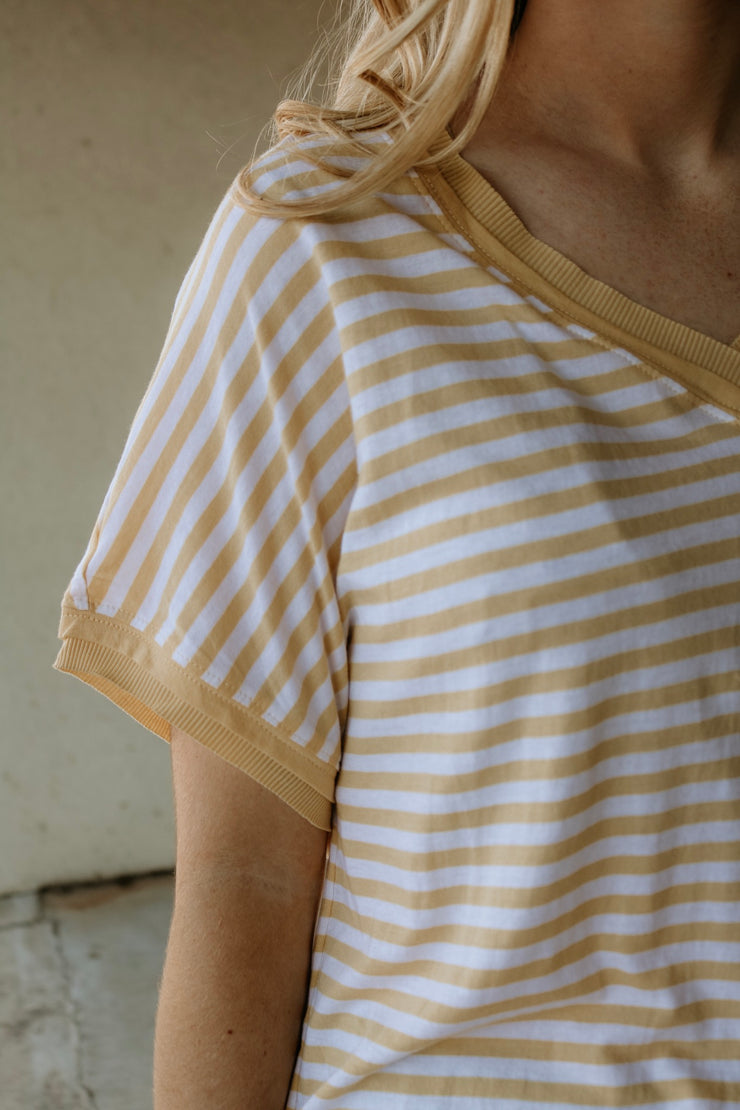 z supply: the stripe boyfriend vneck tee - yellow cream