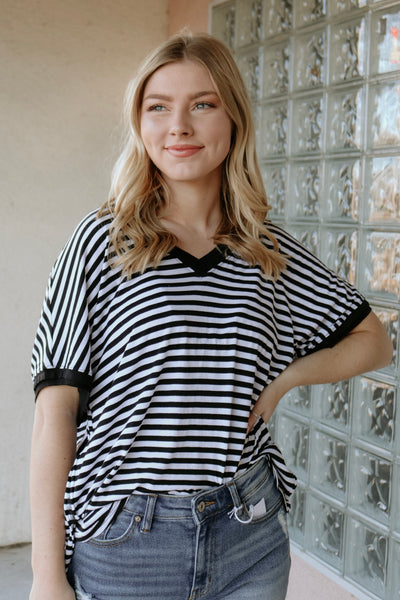z supply: the stripe boyfriend v-neck tee - black