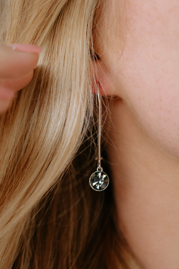 believe band: black diamond drop logo earring