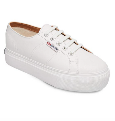 superga: white leather platform