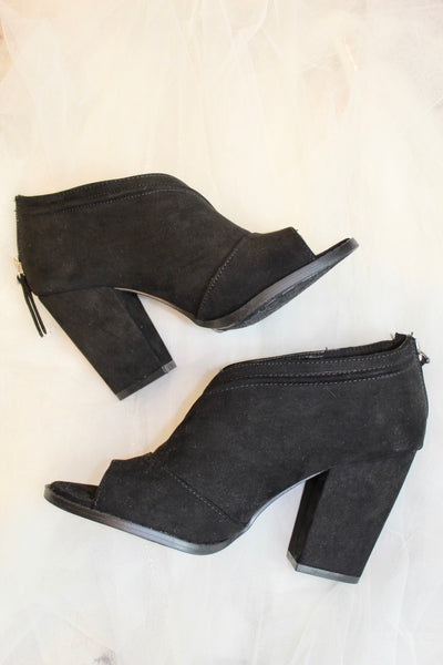the lost bootie - black suede