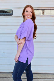 blame it on the night top- lavender