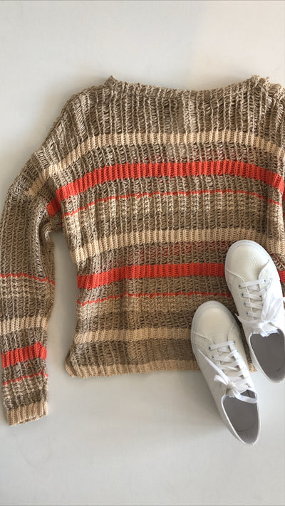 all about the stripes sweater - taupe