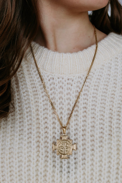 ellie vail: cameron cross necklace - gold