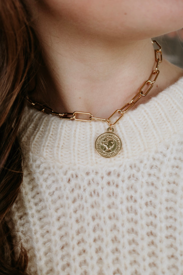 ellie vail: elsa coin necklace - gold