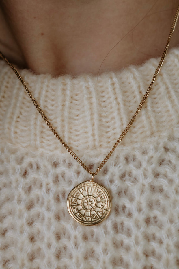 ellie vail: trey zodiac disc necklace - gold