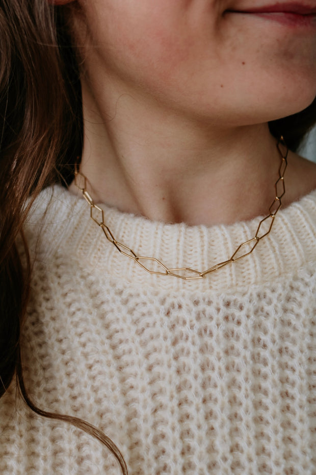 ellie vail: zane link necklace - gold