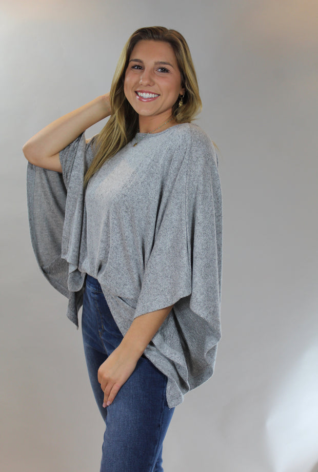 z supply: ruby marled poncho - heather grey