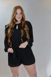 thinking out loud romper - black