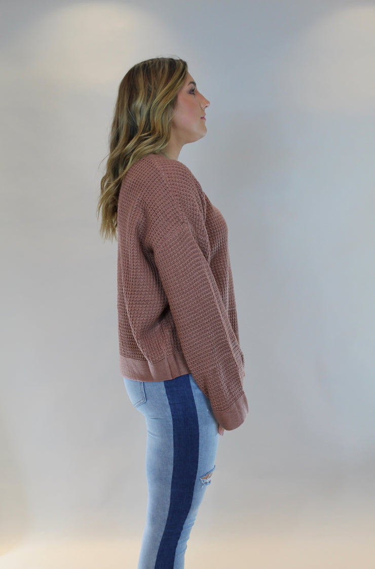 headed to brunch sweater - ash rose