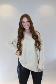 warm and fuzzy feelings sweater- cream