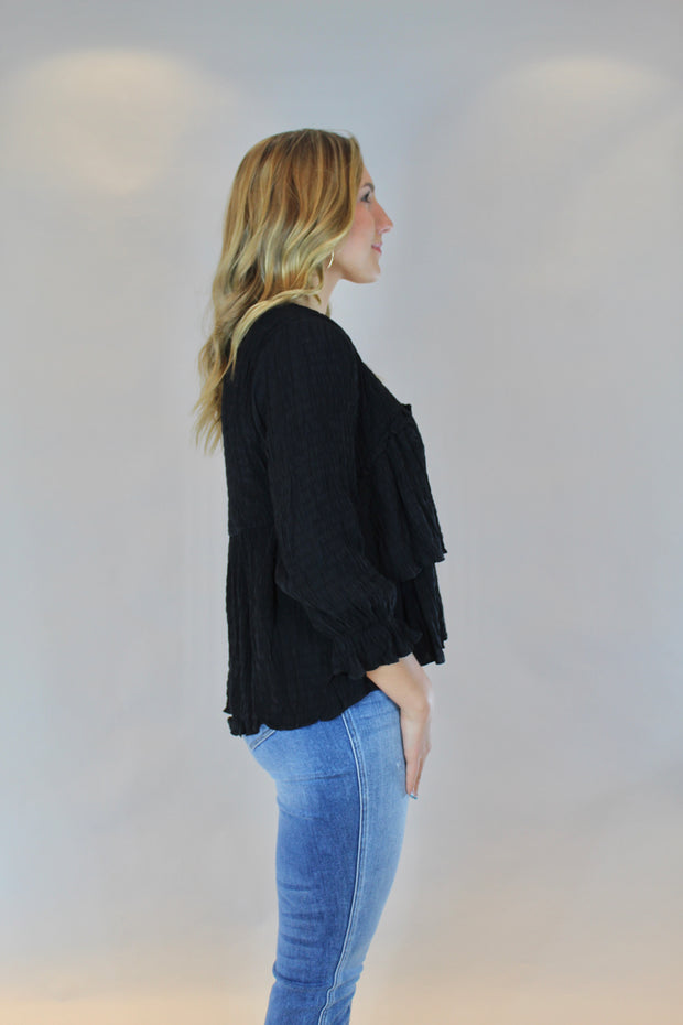ruffled for you top- black