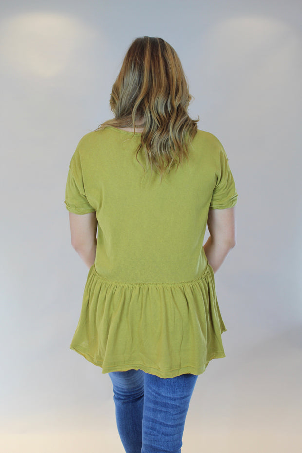 twirling through the day top- mustard