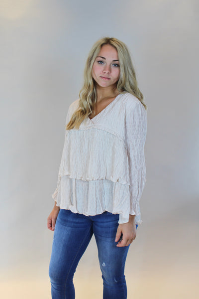 ruffled for you top- blush