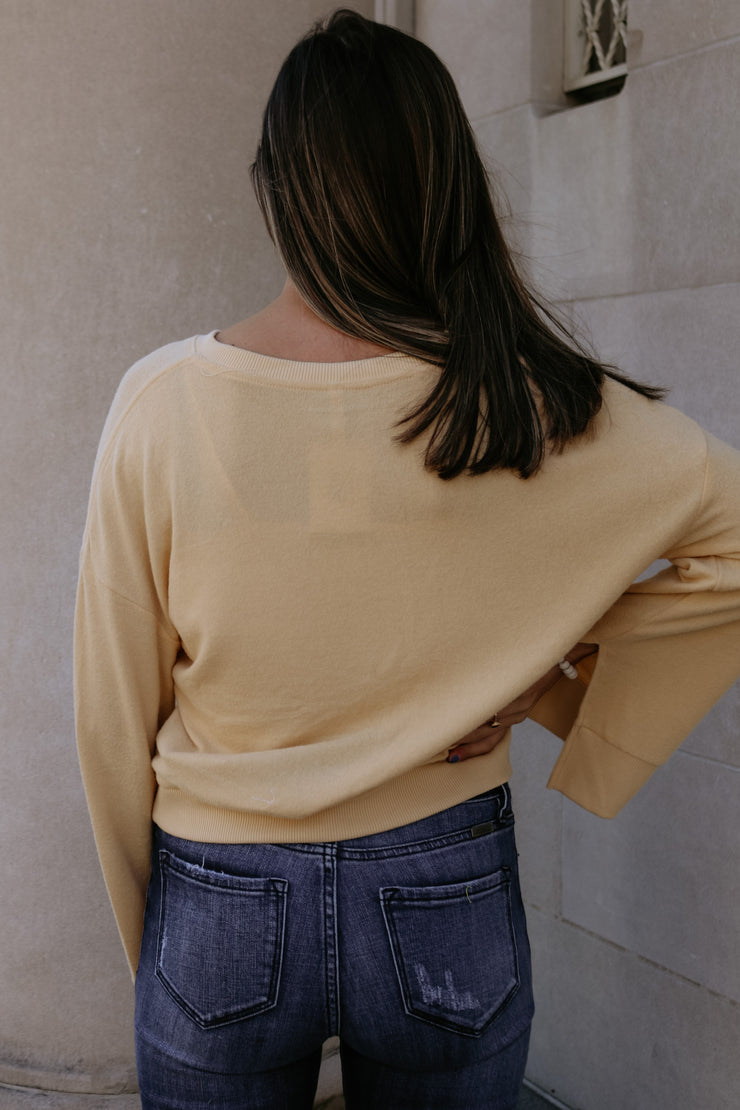 z supply: the sweater knit notch front - yellow cream