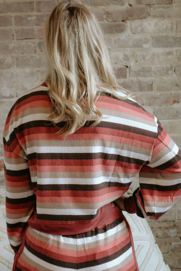 z supply: the rainbow stripe pullover - mesa red