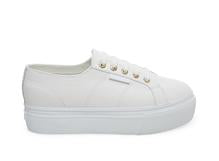 superga: white/gold leather platform