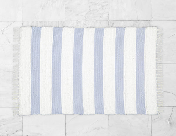 Dhurrie and Fluffy Bands Blue and White Rug - Amelia Jackson Industries South Africa