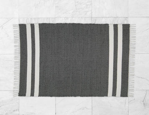 Cotton Dhurrie Charcoal with 2 White Stripes - Amelia Jackson Industries South Africa
