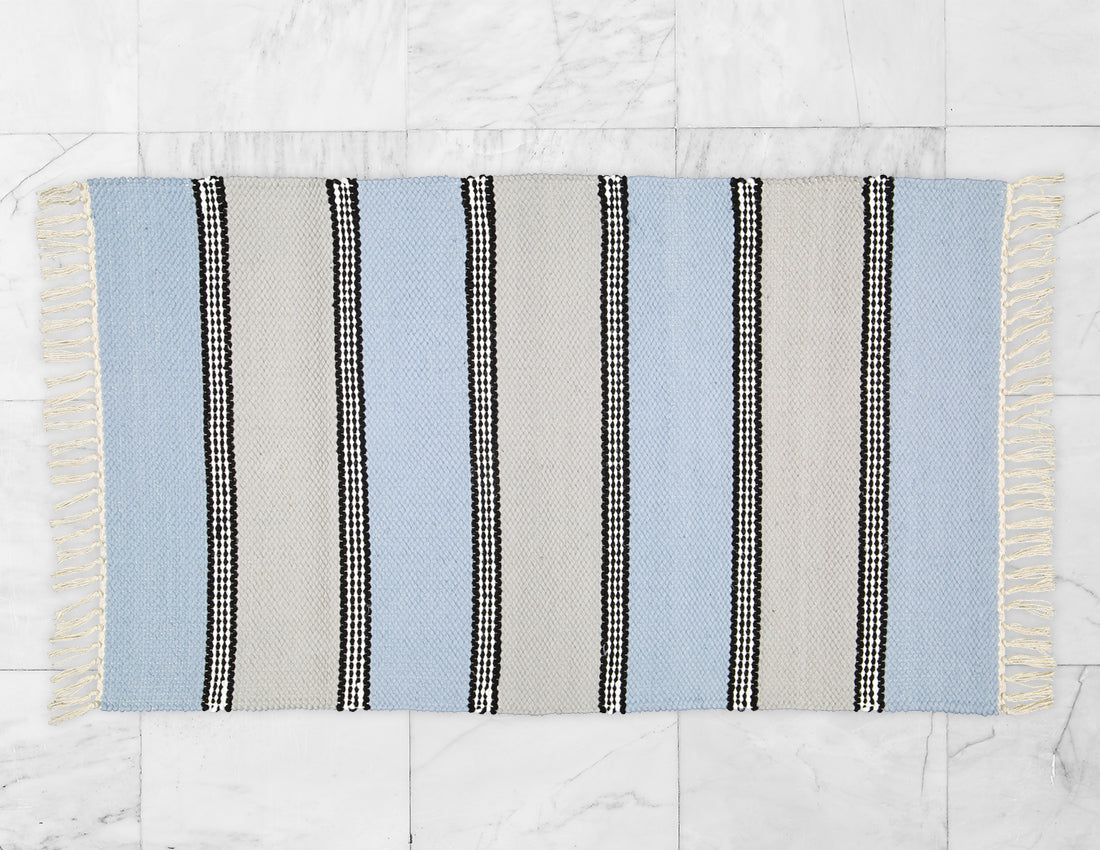 Plush Rug Option 2 HK Blue and Grey with Black Stripes - Amelia Jackson Industries South Africa