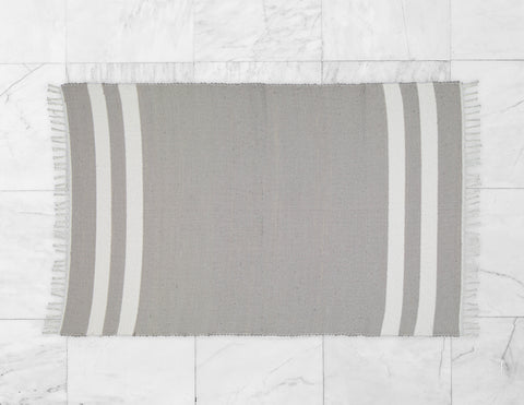 Cotton Dhurrie Grey with 2 White Stripes - Amelia Jackson Industries South Africa