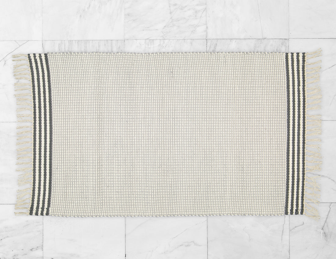 Plush Rug Option 3 Grey and Natural with Charcoal Stripes - Amelia Jackson Industries South Africa