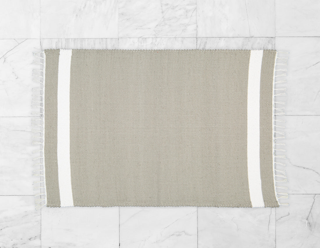 Cotton Dhurrie Tabby in Grey with White Band - Amelia Jackson Industries South Africa