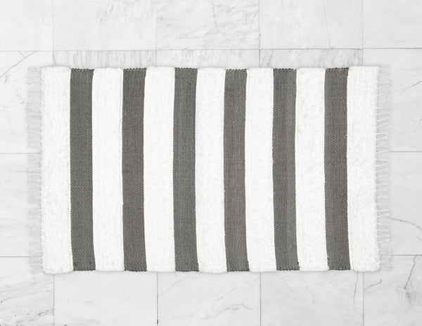 Dhurrie and Fluffy Bands Charcoal and White Rug - Amelia Jackson Industries South Africa