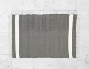 Cotton Dhurrie Tabby in Charcoal with White Band - Amelia Jackson Industries South Africa