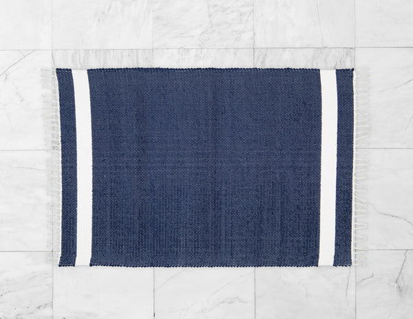 Cotton Dhurrie Tabby in Navy with White Band - Amelia Jackson Industries South Africa
