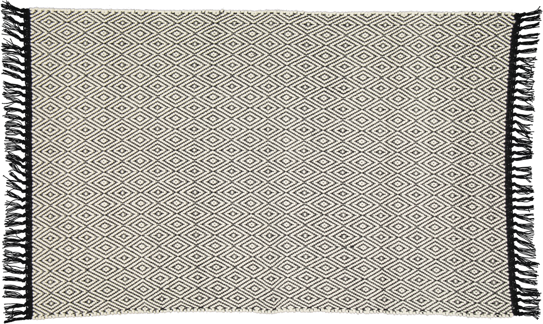 Hand woven cotton rug in Natural over a Black diamond pattern