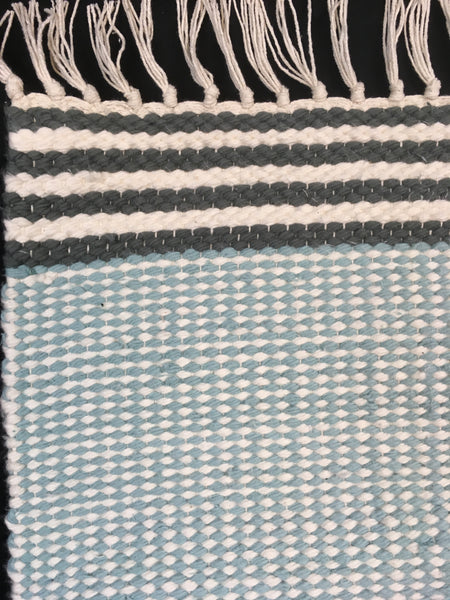 Plush rug option 3 Duck egg with charcoal stripes